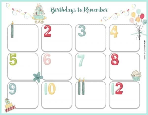 Free Birthday Calendar Fillable Birthday Calendar Free