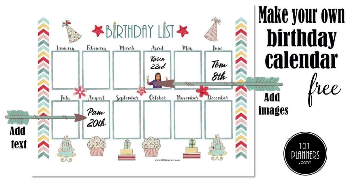 Free Birthday Calendar | Printable & Customizable | Many April Birthday Templates Filable