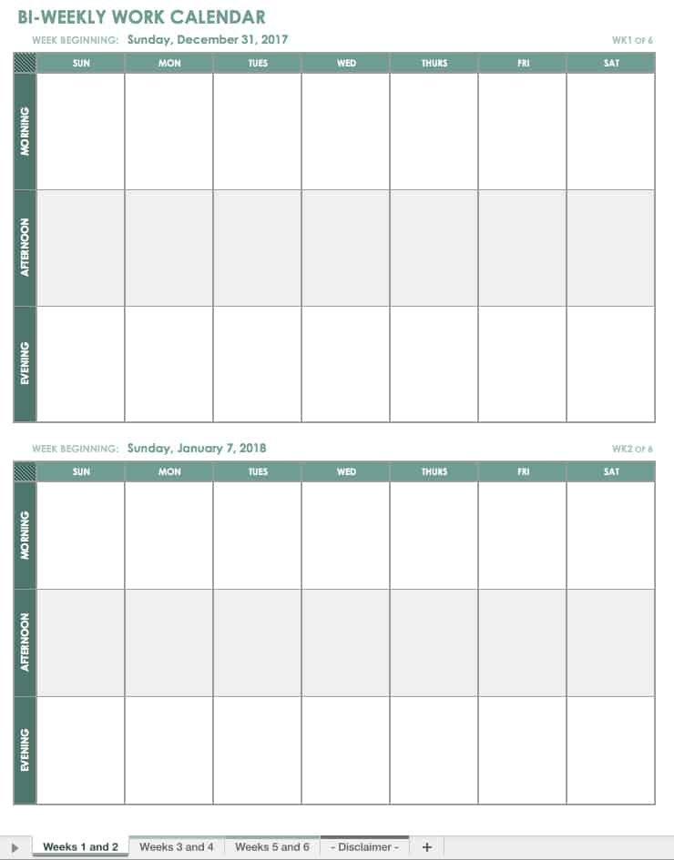 Free Blank Calendar Templates – Smartsheet Blank 2 Week Schedule
