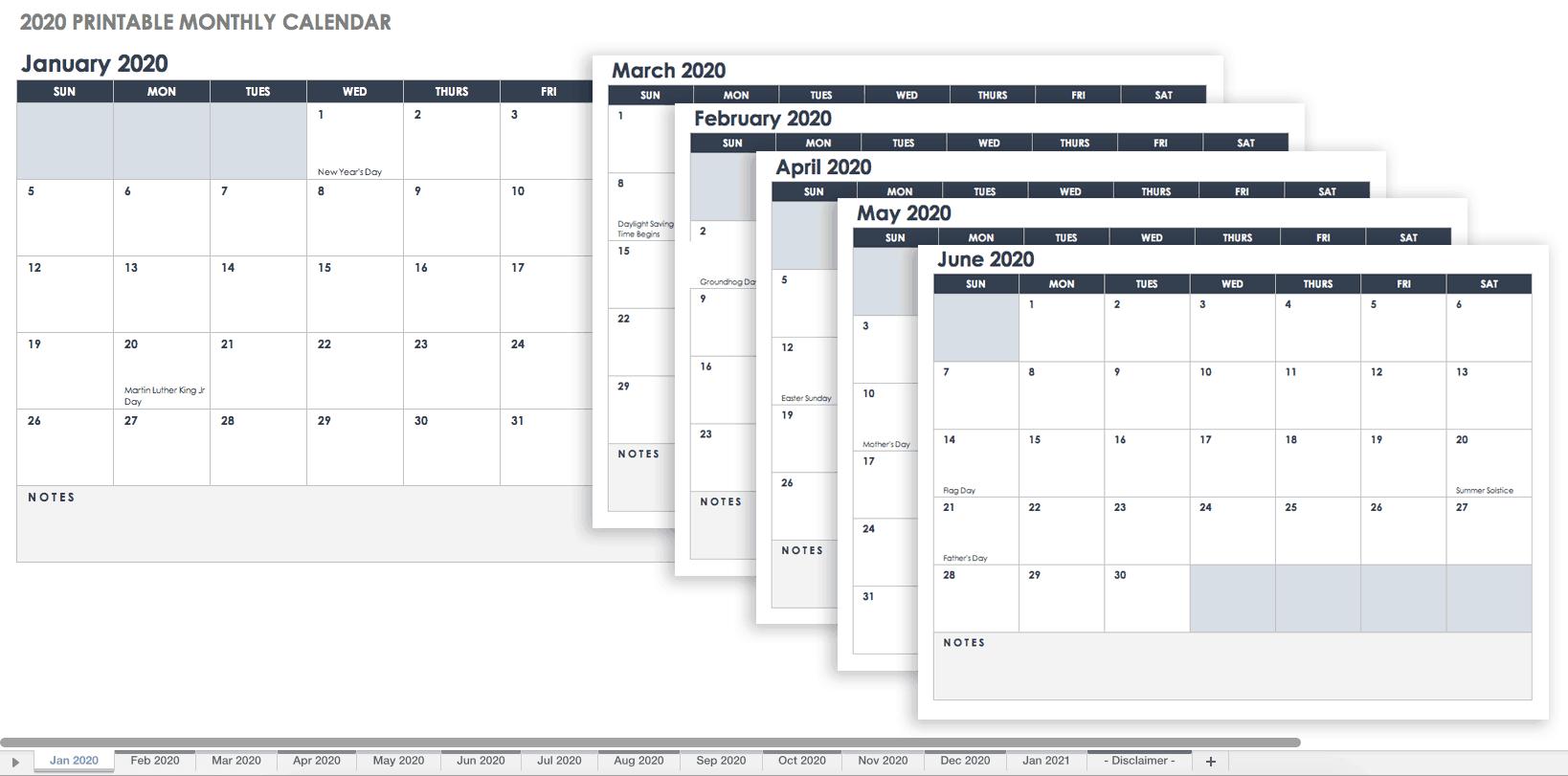 Free Blank Calendar Templates – Smartsheet Holiday Time Off Calendar Excel