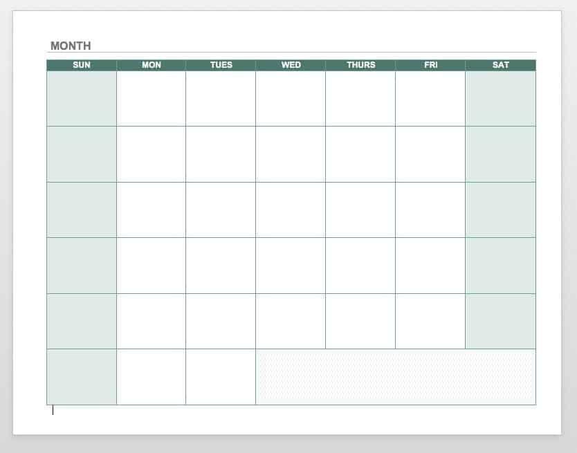 Free Blank Calendar Templates – Smartsheet Simple Weekly X5 Calendar Template