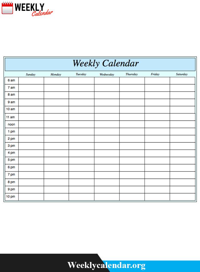 Free Blank Printable Weekly Calendar 2020 Template In Pdf Blank School Calendar With Times Free