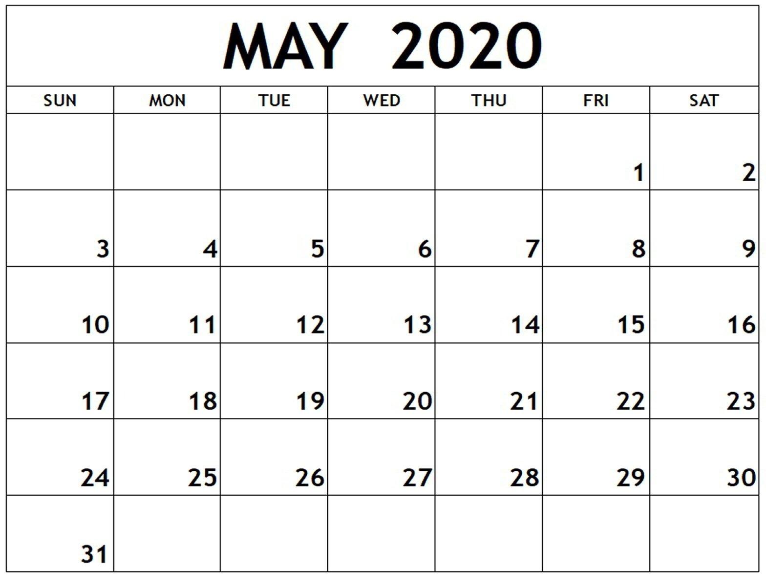 Free Calendar For May 2020   Free Printable Calendar Free Online Printable Calendar Without Downloading