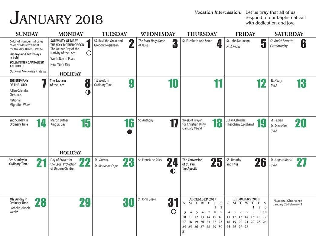 Free Catholic Liturgical Calendar 2018 – Template Calendar Free Church Calender Images