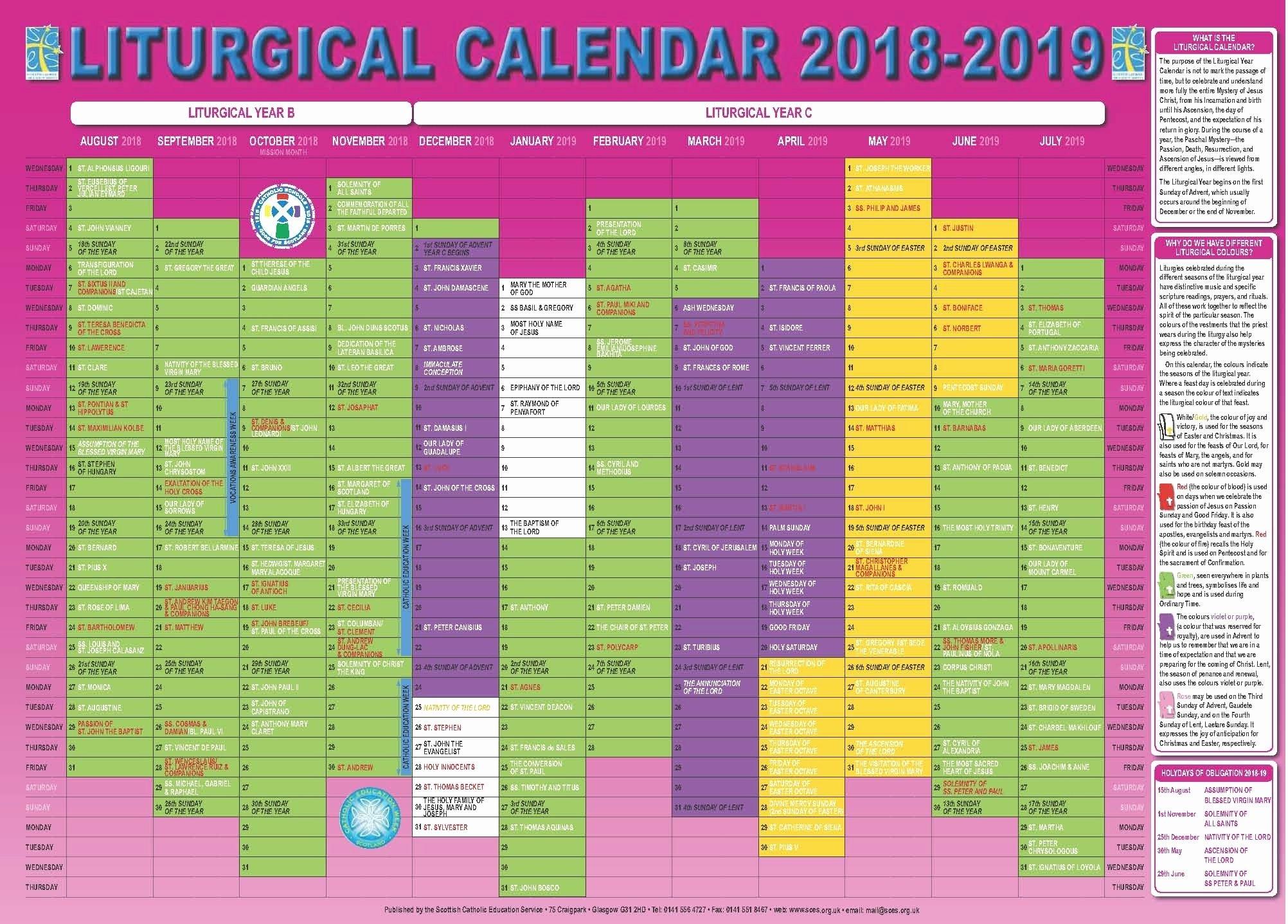 Free Catholic Liturgical Calendar For 2020 – Calendar Free Church Calender Images