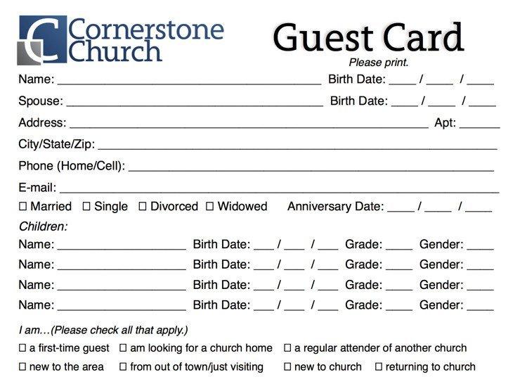 Free Church Guest Card Template – Churchmag Free Printable Of Churches