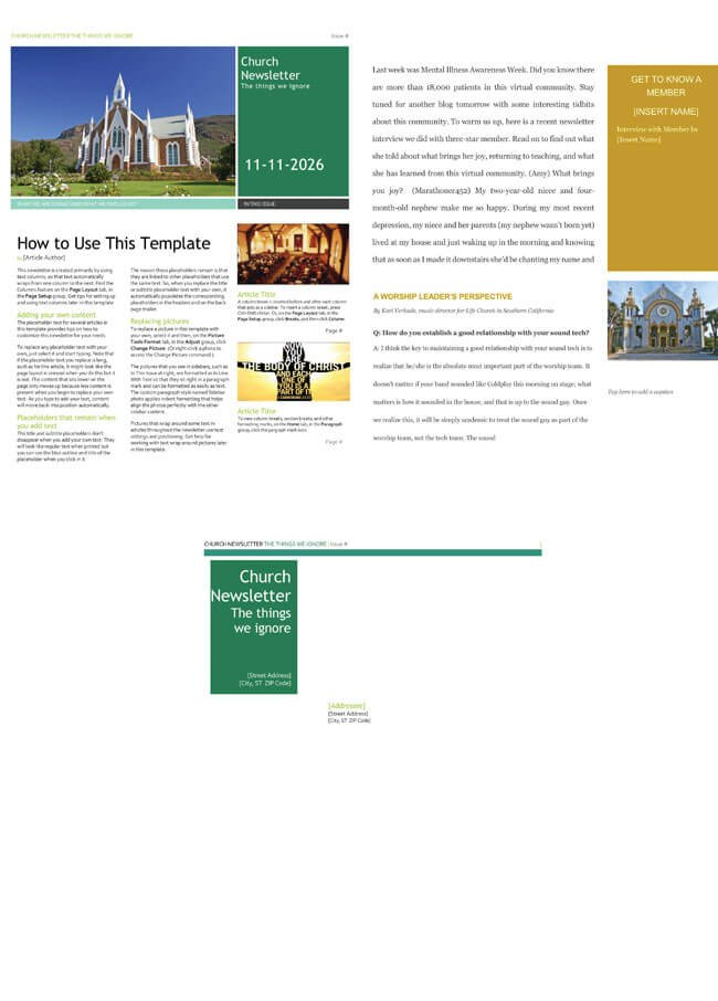 Free Church Newsletter Templates – Editable In Microsoft® Word Free Printable Of Churches