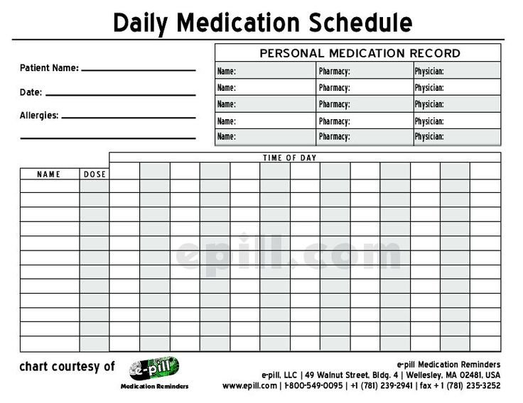 Free Daily Medication Schedule / Free Daily Medication 28 Day Calendar For Medication