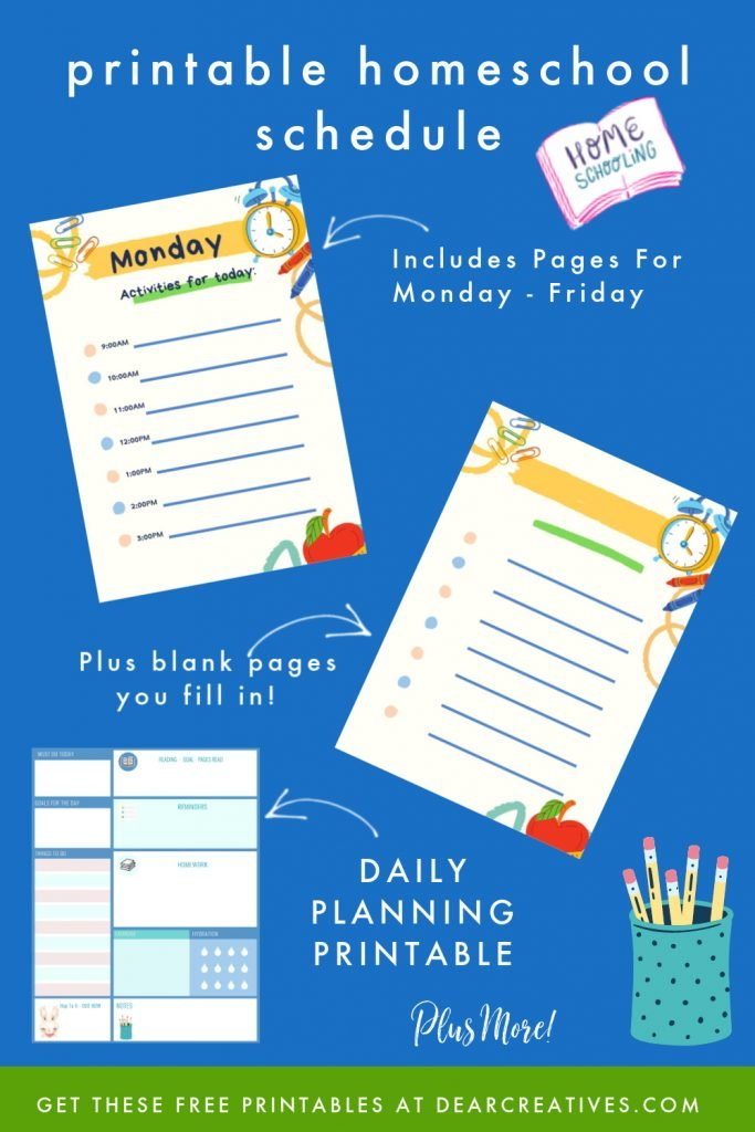 Free Daily Planner Printables For Back To School – Dear Free Monday Thru Friday Weekly Calendar With Time Slotsprintable