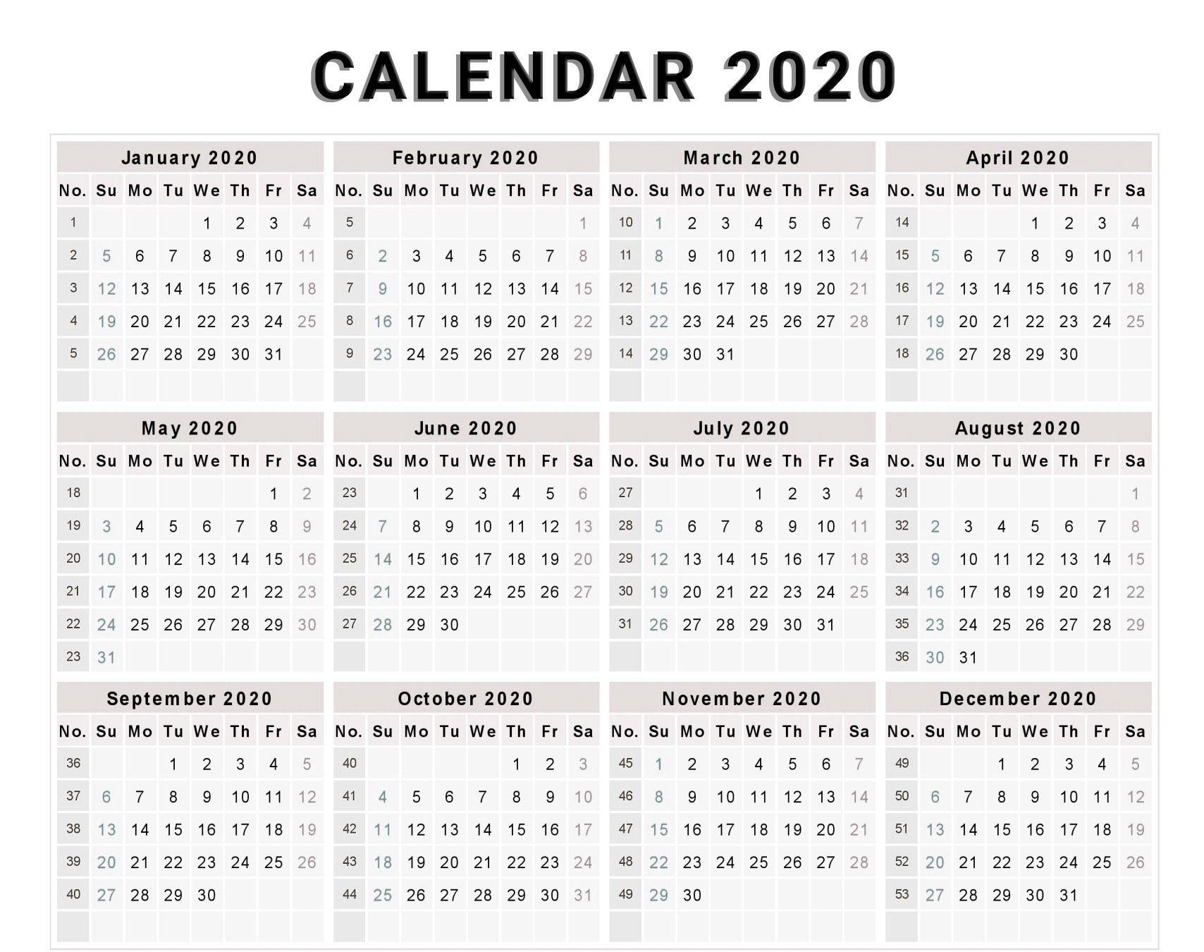 Free Editable 2020 Calendar Printable Template   Calendar Sap 52 Week Numbered Calendar