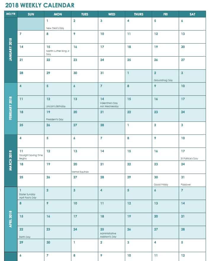 Free Excel Calendar Templates Printable Rip Off Day Calendar