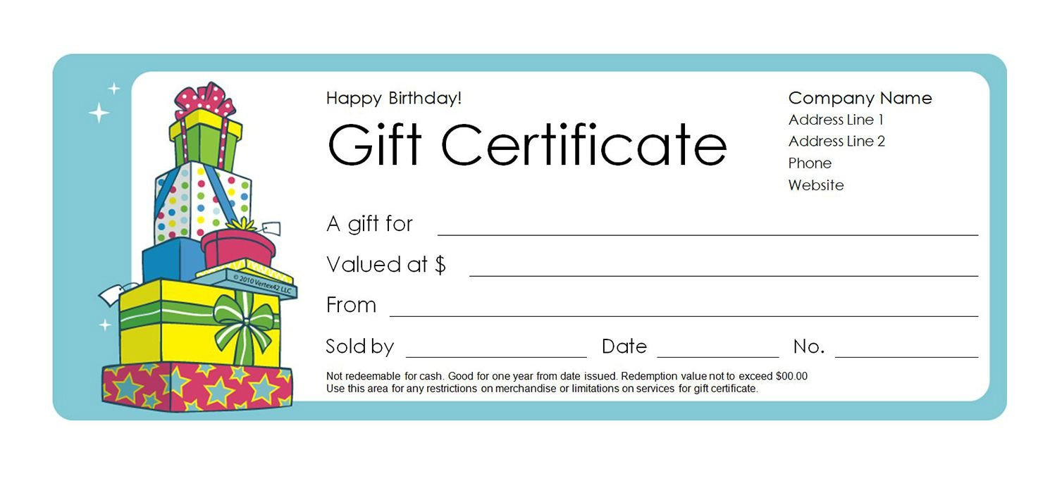 Free Gift Certificate Templates You Can Customize Birthday Calendars That We Can Fill In