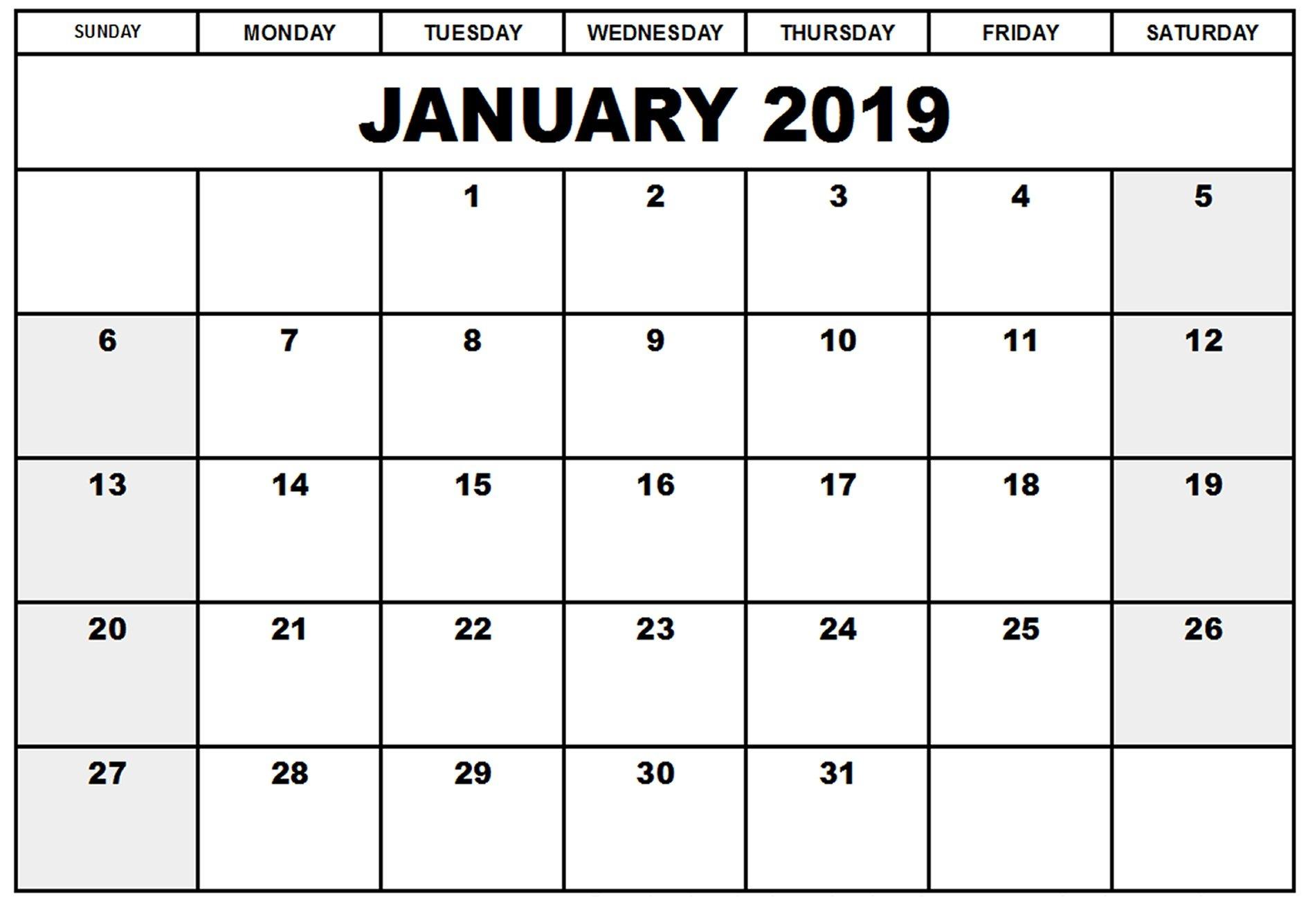 Free January 2019 Printable Calendar Templates – Calendar Printable Calendar I Can Edit