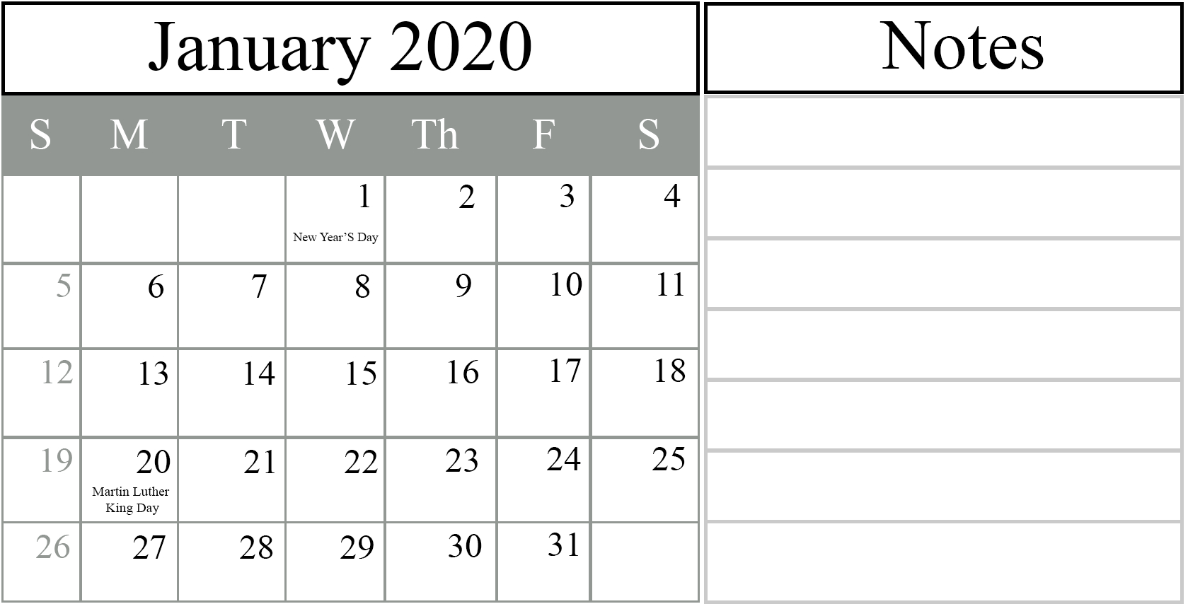 Free January 2020 Printable Calendar In Pdf, Excel & Word Monthly Calendars You Can Edit
