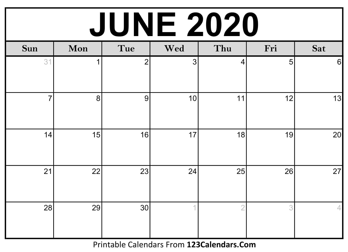 Free June 2020 Calendar   123Calendars Printable Rip Off Day Calendar