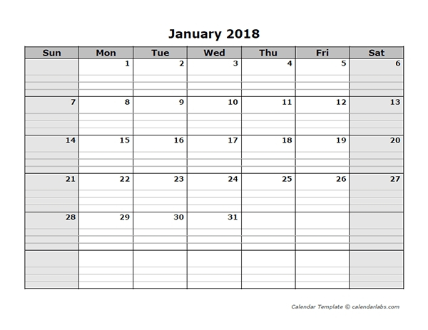 Free Lined Monthly Printable Calendar Template : Free Blank Lined Monthly Calendar Template