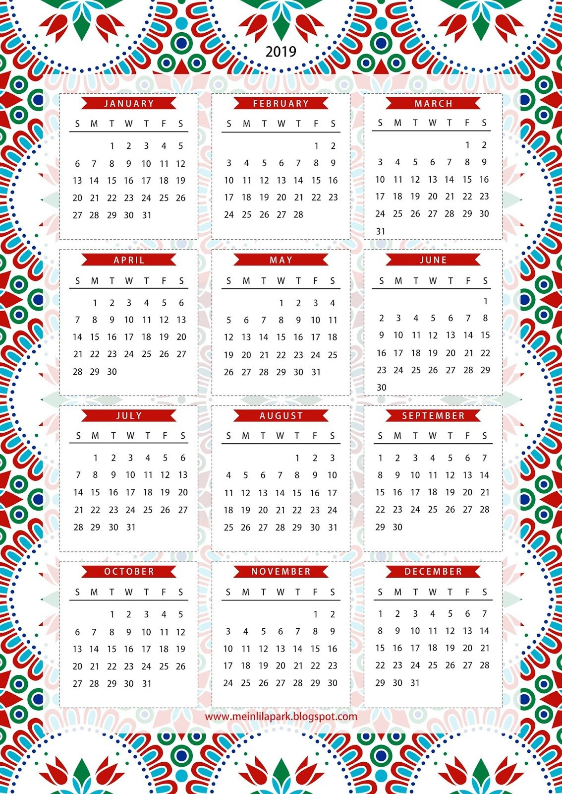 Free Printable 2019 One Page Calendar – Kalender – Freebie Free Blank Calendar Page