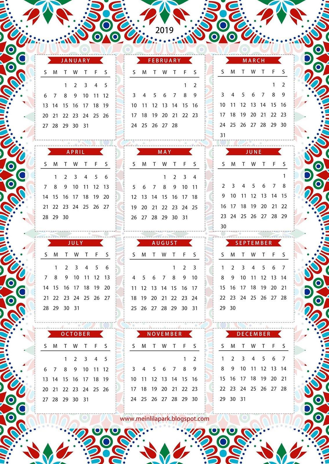 Free Printable 2019 One Page Calendar - Kalender - Freebie Small Free Printable Calendar