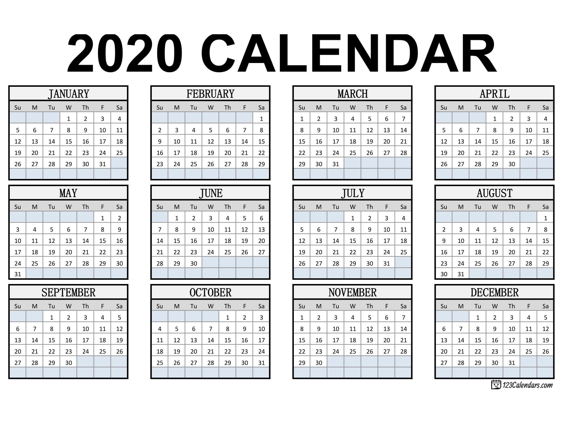 Free Printable 2020 Calendar | 123Calendars Printable Month Calendar With Times