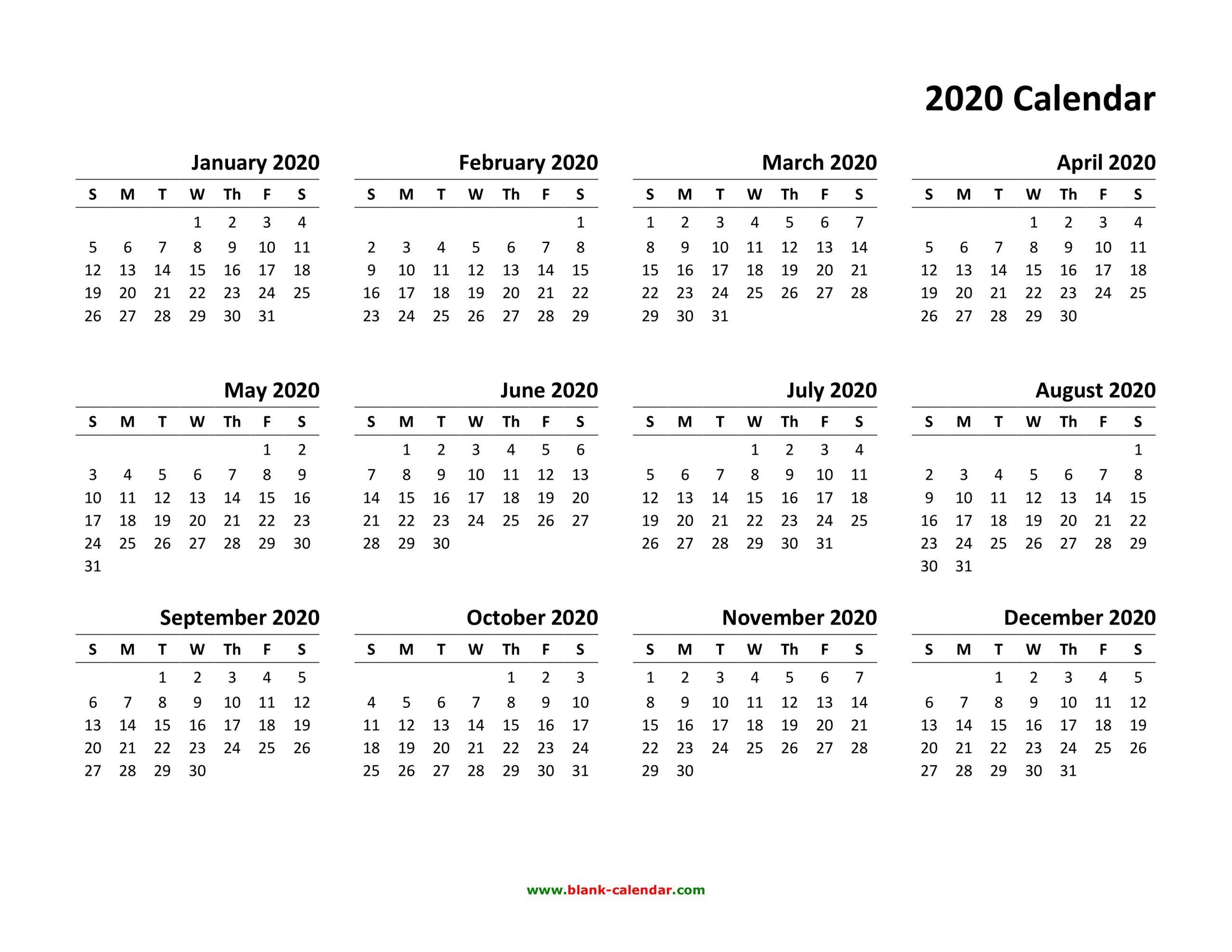 Free Printable 2020 Calendar To I Can Edit   Calendar Free Calendar I Can Edit