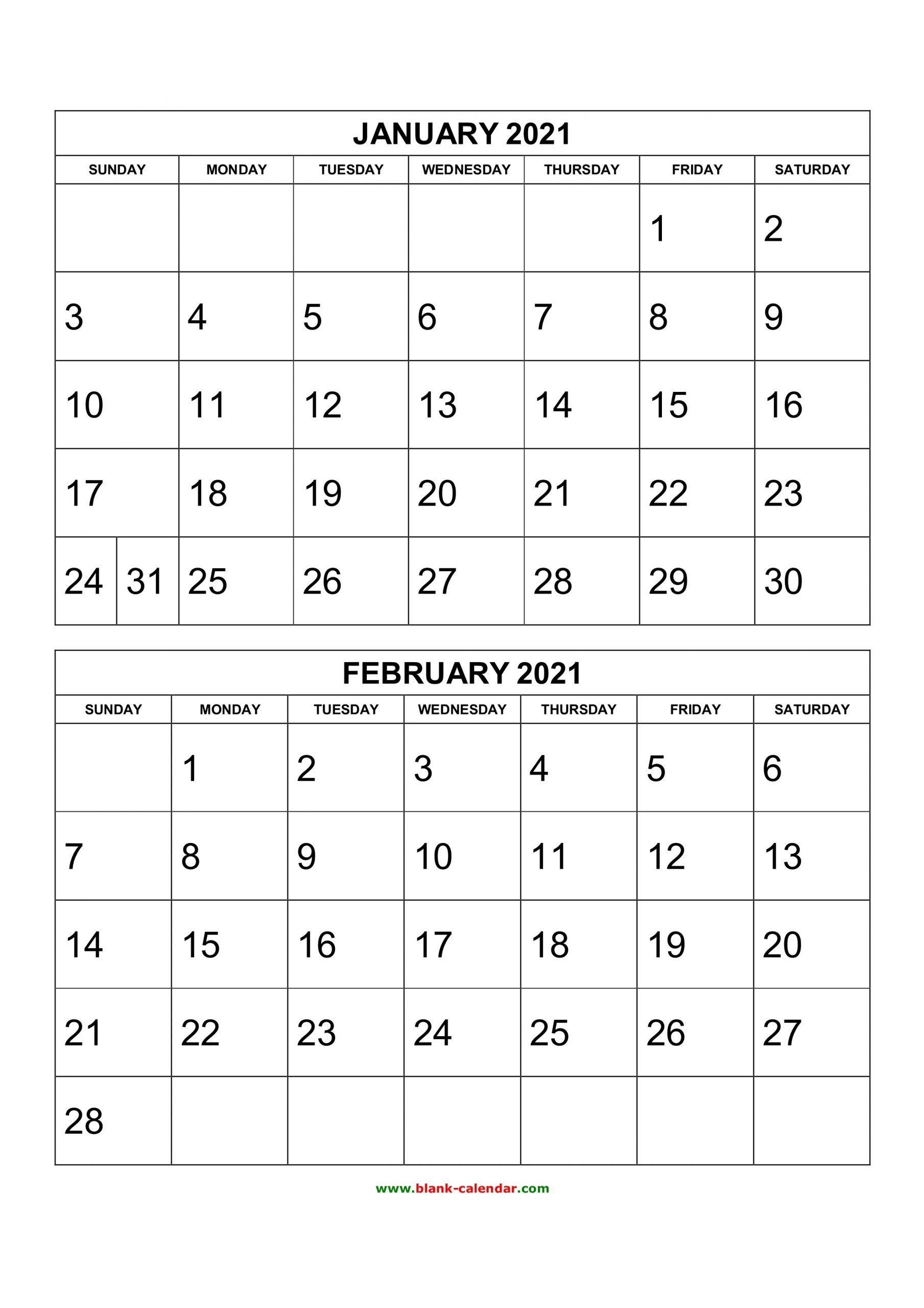 Free Printable 2020 Two Months Per Page Calendars 2 Page Printable Monthly Calendar