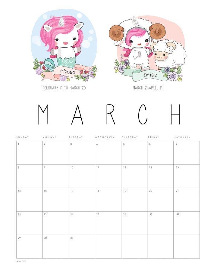 Free Printable 2020 Zodiac Sign Kawaii Unicorn Calendar Free 2020 Calendar With Days Counted 1 365