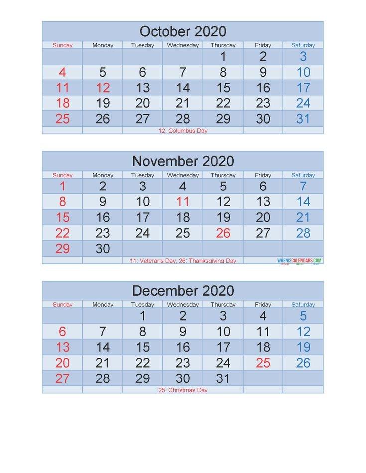 Free Printable 3 Month Calendar 2020 Oct Nov Dec Pdf 3 Month Free Calendar