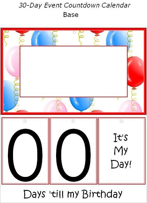 Free Printable Birthday Event Countdown Calendar 30 Day Shred Countdown Printable Free