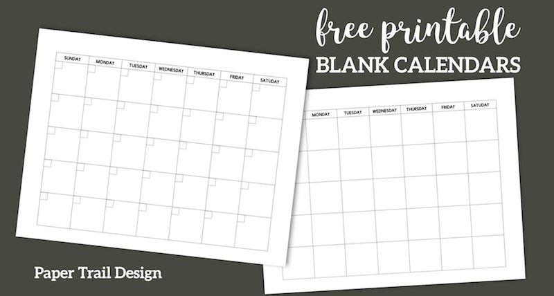 Free Printable Blank Calendar Template   Paper Trail Design Free Blank Calendar For One Week Printable
