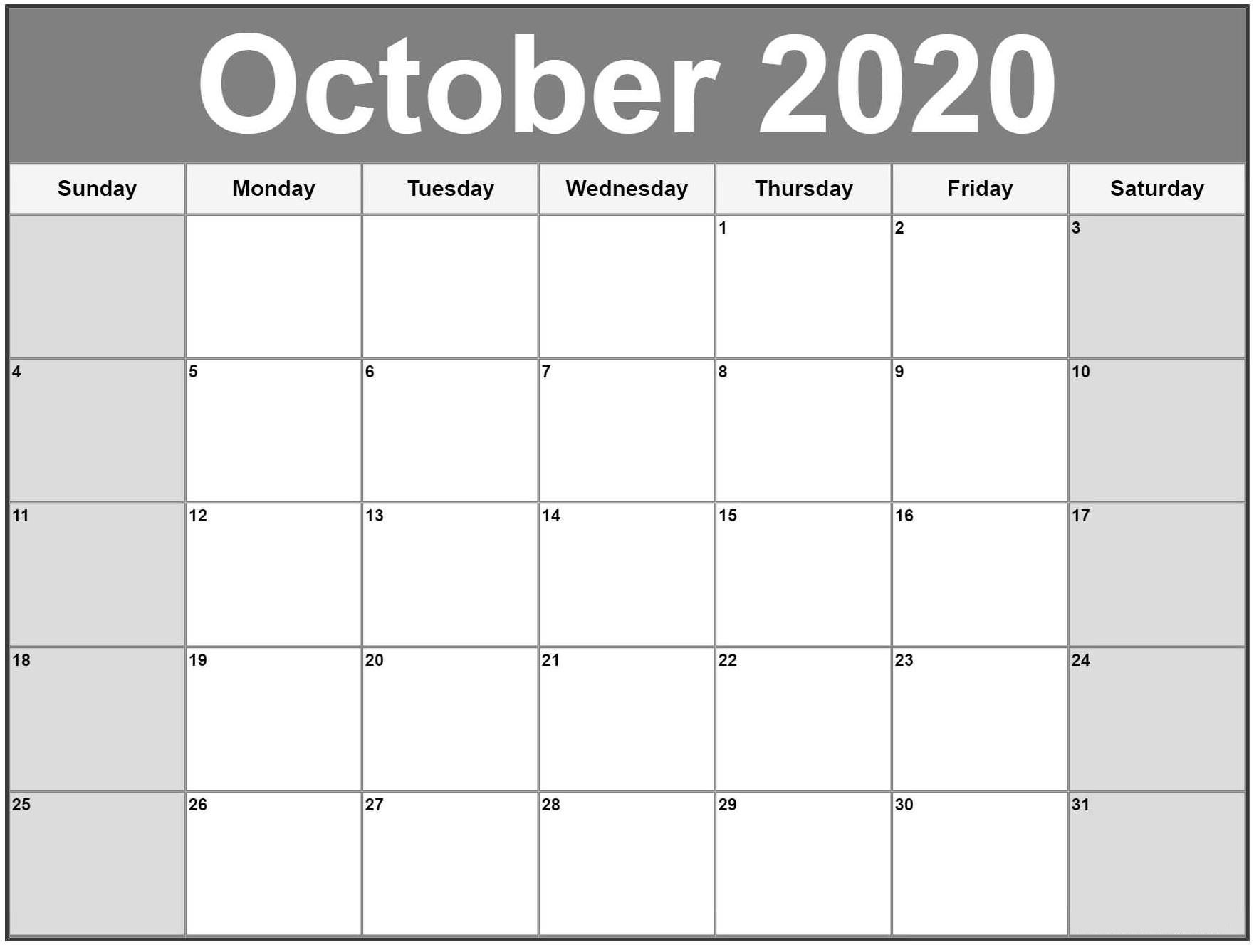 Free Printable Blank October 2020 Calendar Notes Template Blank Calendars To Fill In Online