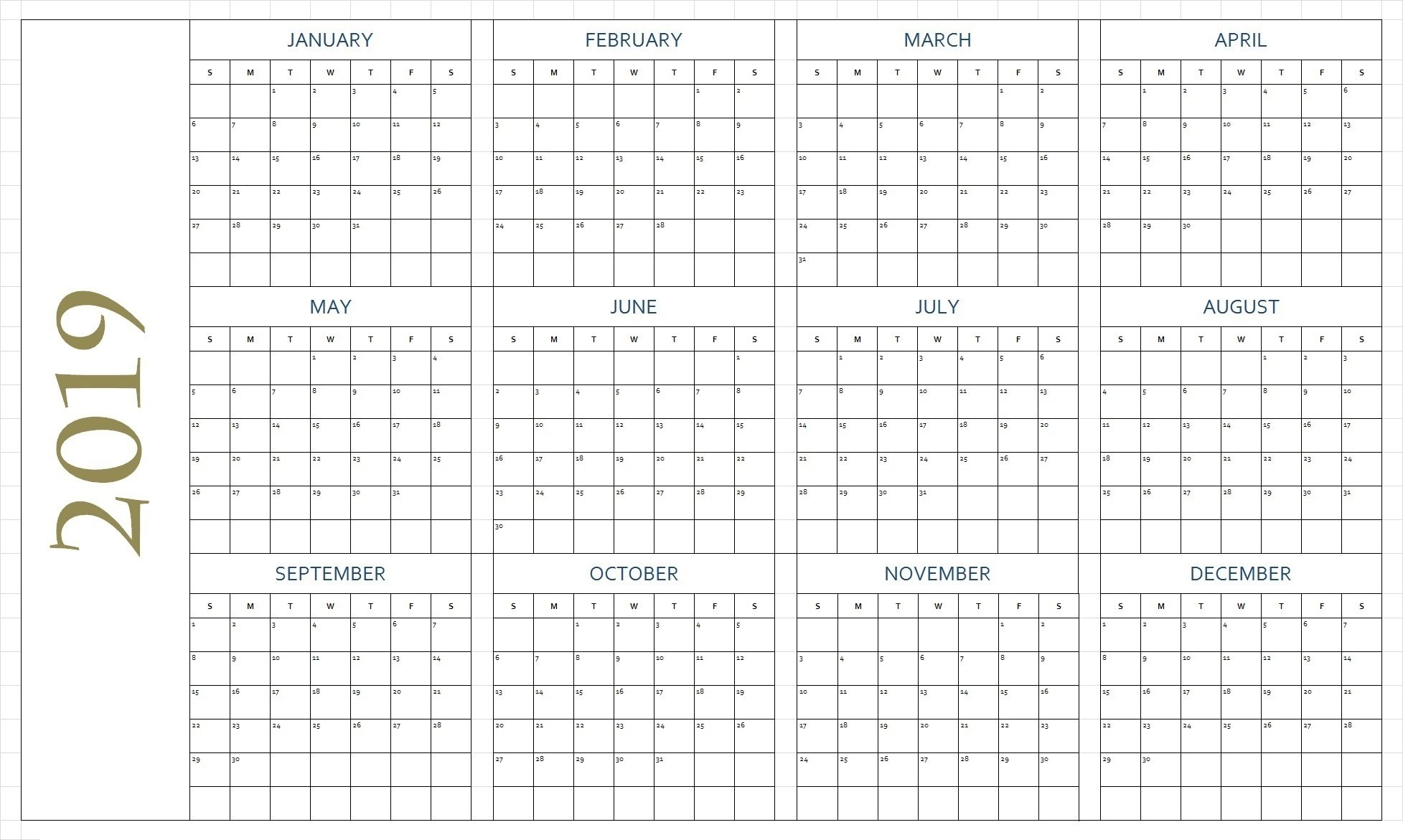 Free Printable Calendar 2019 In Pdf Word Excel Template Free Blank Calendar Page