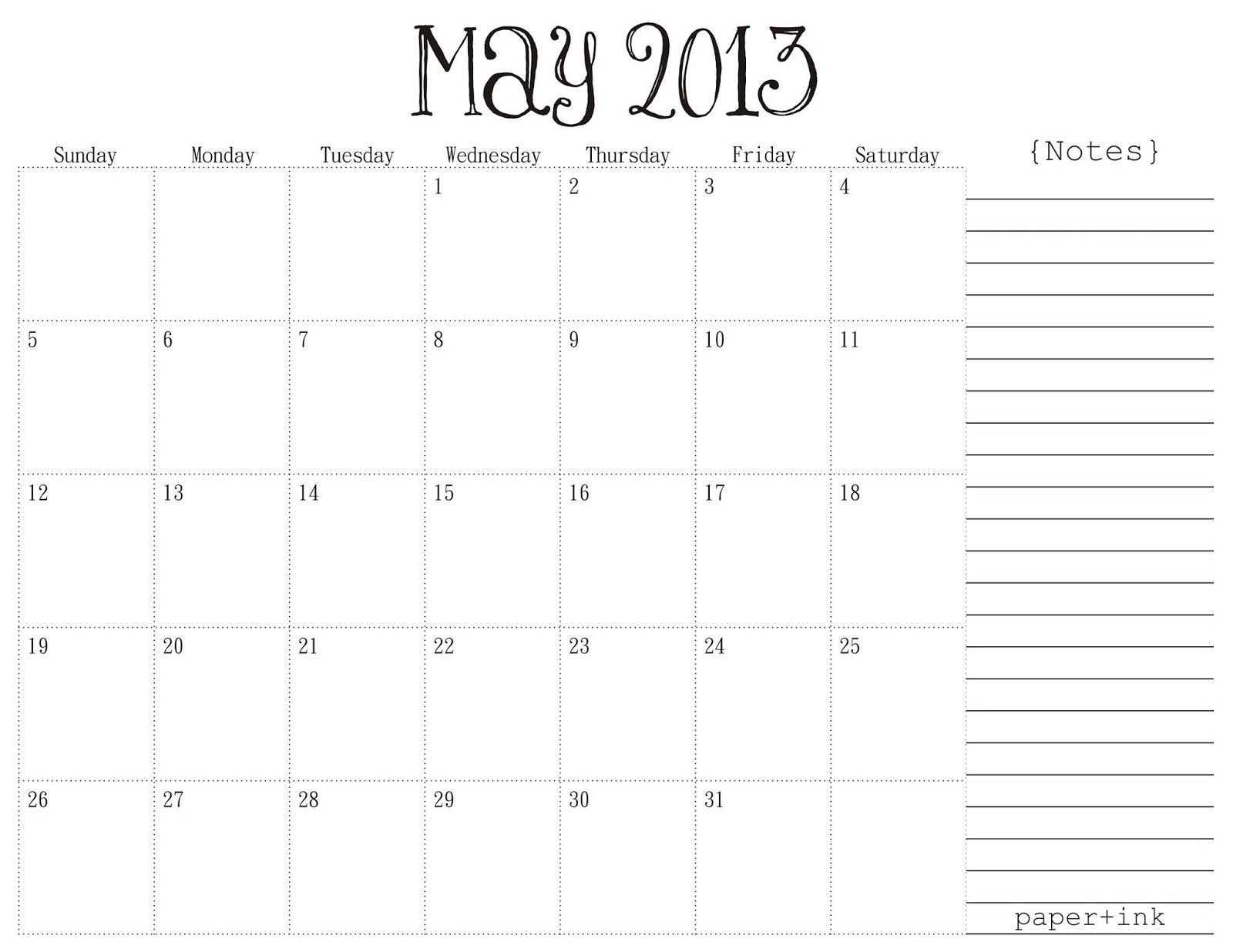 Free Printable Calendar: May 2013 Free Weekly Numbered 52 Week Calendar Printable