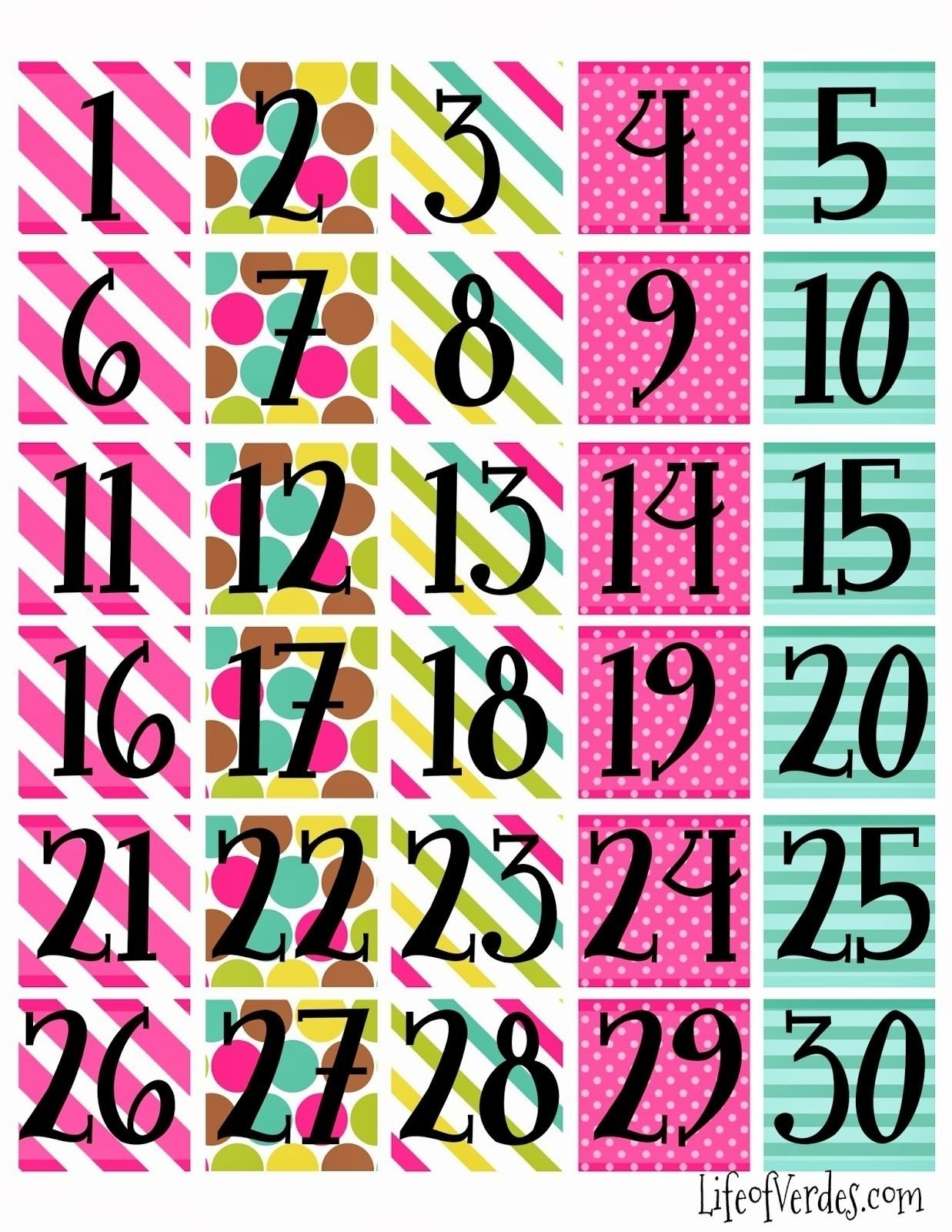 Free Printable Calendar Numbers 1 31 Pdf   Month Calendar Numbers For Calendars 1 31 Toddlers