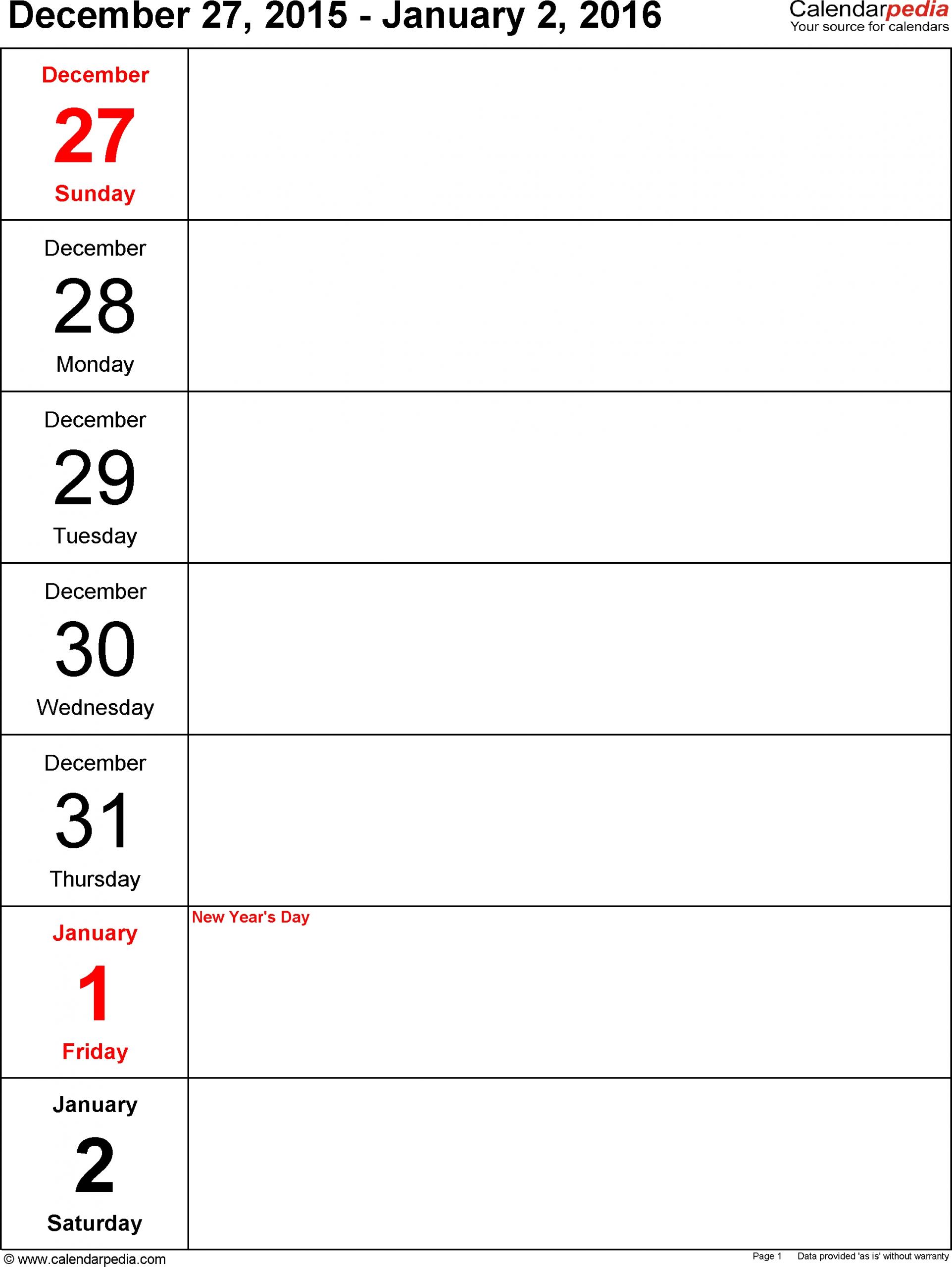 Free Printable Calendar One Week Per Page   Ten Free One Week Calendar Printable
