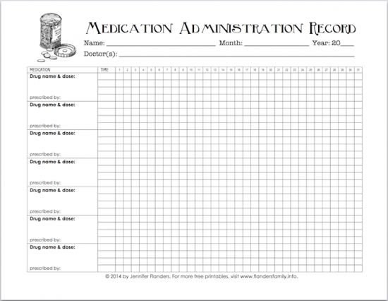 Free Printable Chart For Tracking Medicines   Medication 28 Day Calendar For Medication