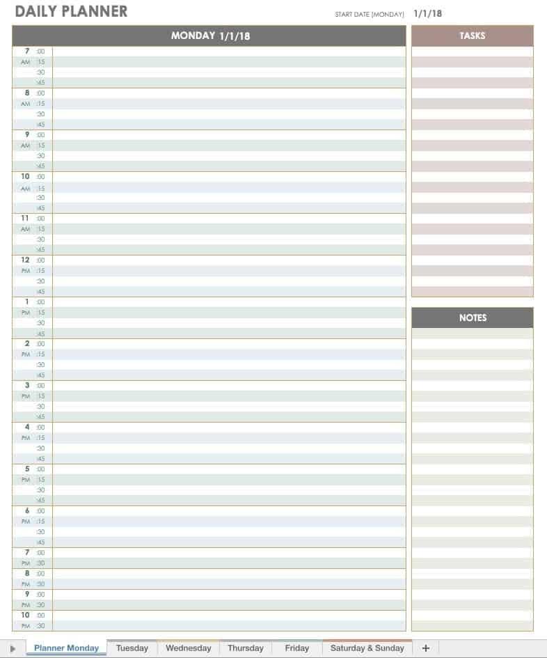 Free Printable Daily Calendar Templates   Smartsheet Daily Calendar By Hour