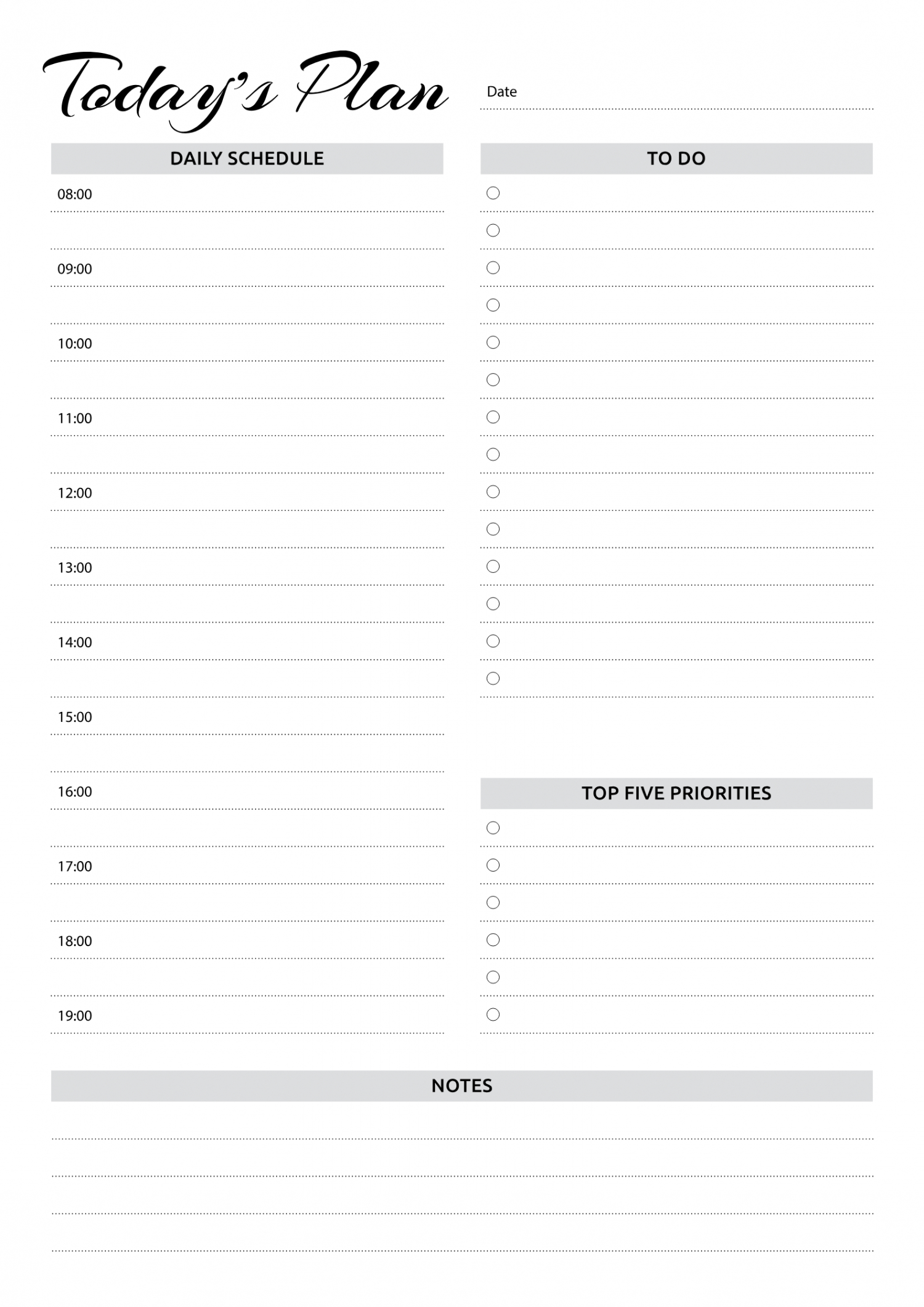 Free Printable Daily Planner With Hourly Schedule & To Do Daily Calendar By Hour