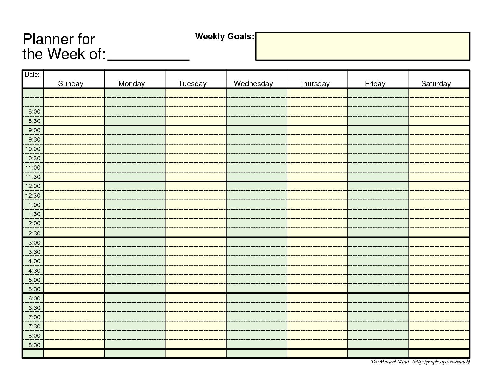 Free Printable Employee Schedule 1 Employee Pdf | Example 1 Week Calendar Template Pdf