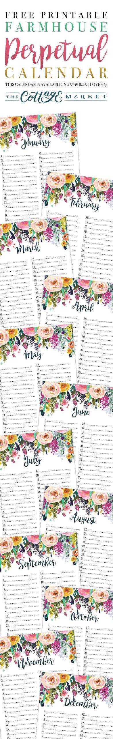 Free Printable Farmhouse Perpetual Calendar   Perpetual Birthday Calendars That We Can Fill In