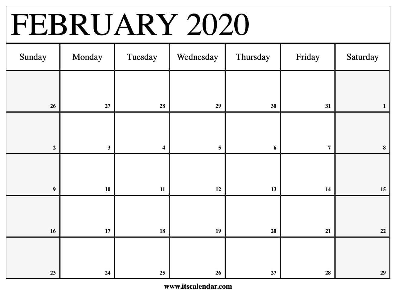 Free Printable February 2020 Calendar Printable Month Calendar With Times