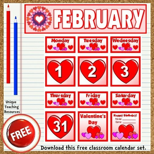 Free Printable February Classroom Calendar For School Teachers Free Printable Calendar Numbers 1 31