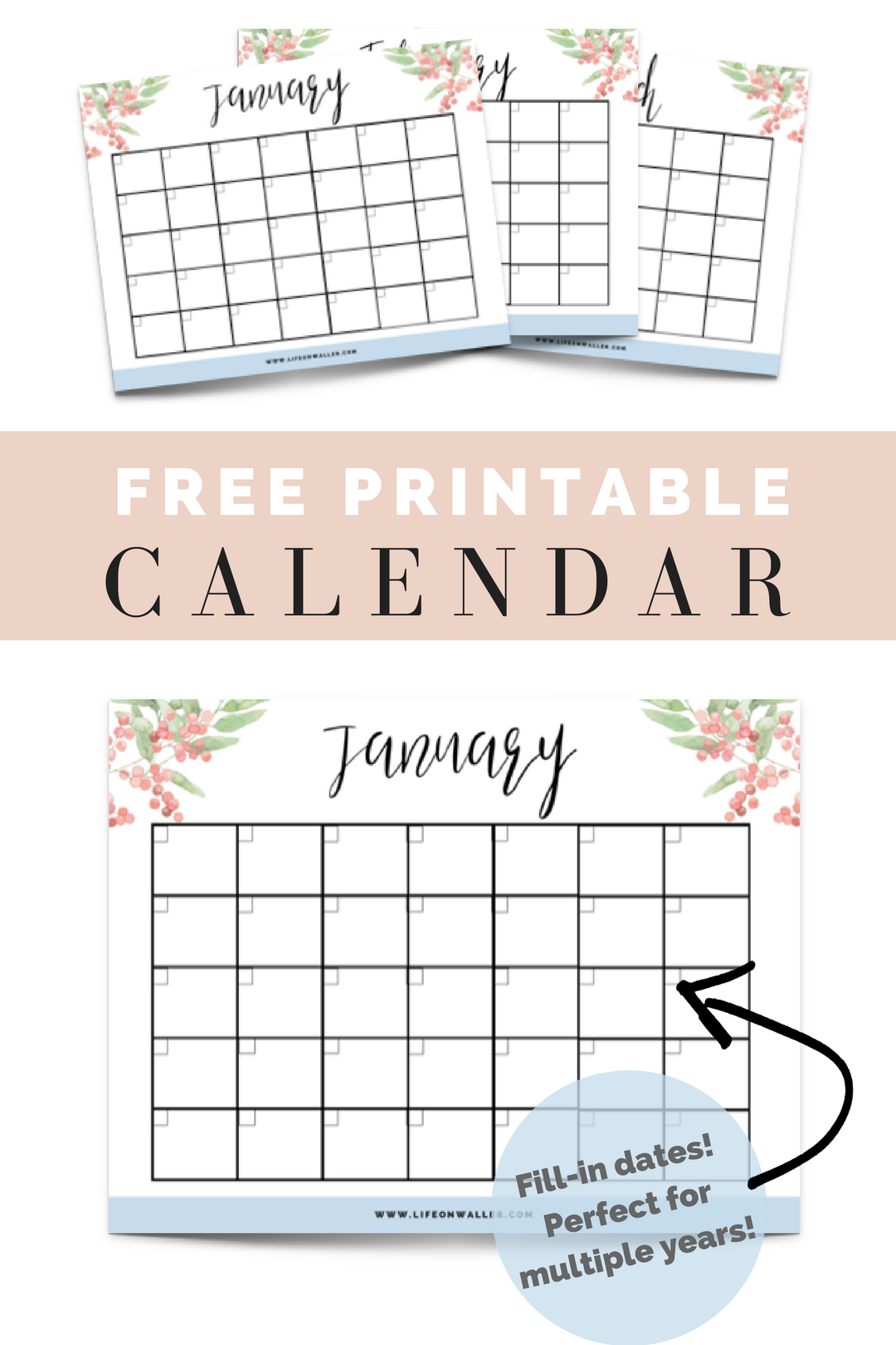 Free Printable Fill In Floral Calendar   Free Printable Free Printable Fill In Calendars