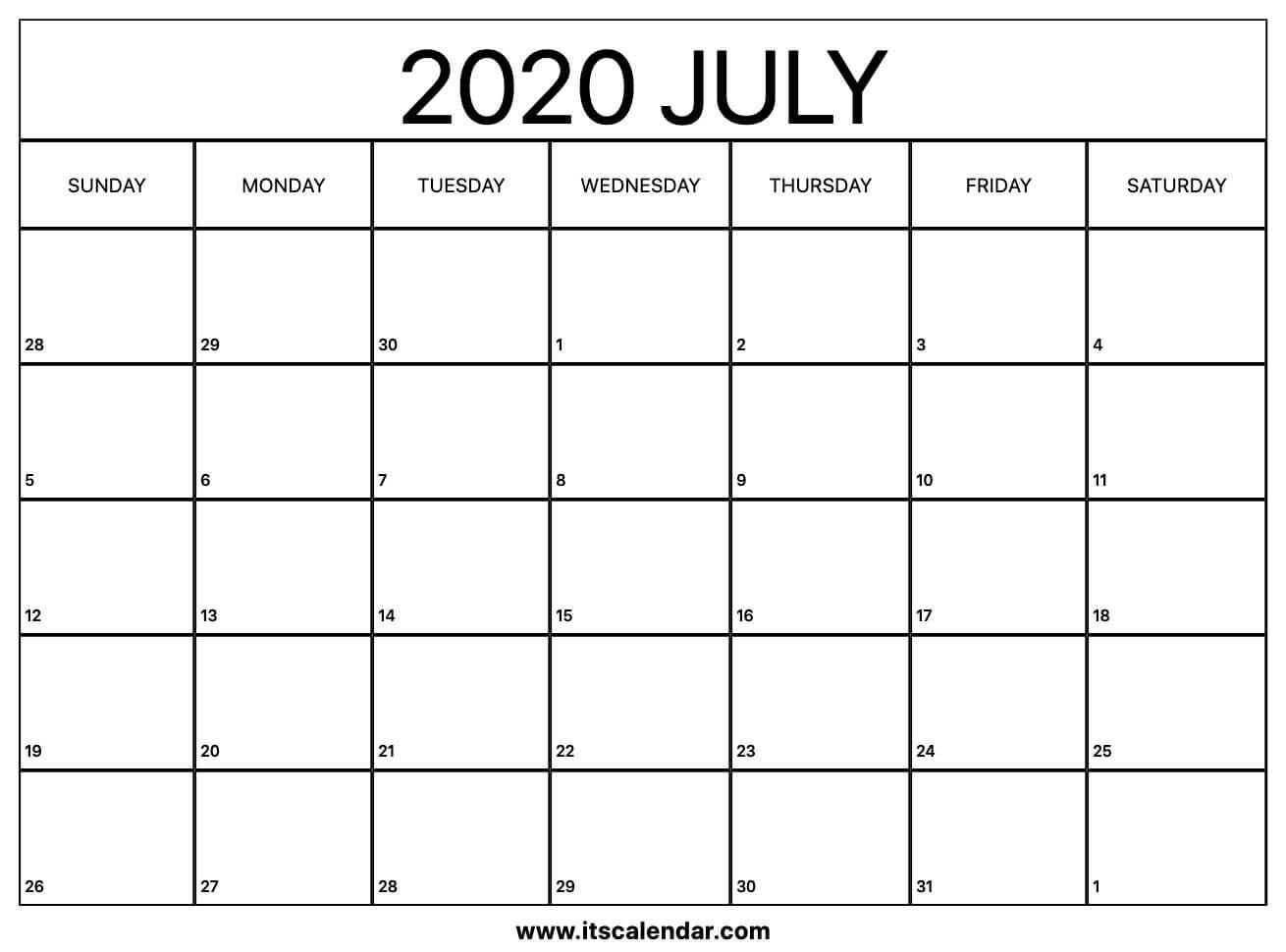 Free Printable July 2020 Calendar Free Calendar Template To Populate