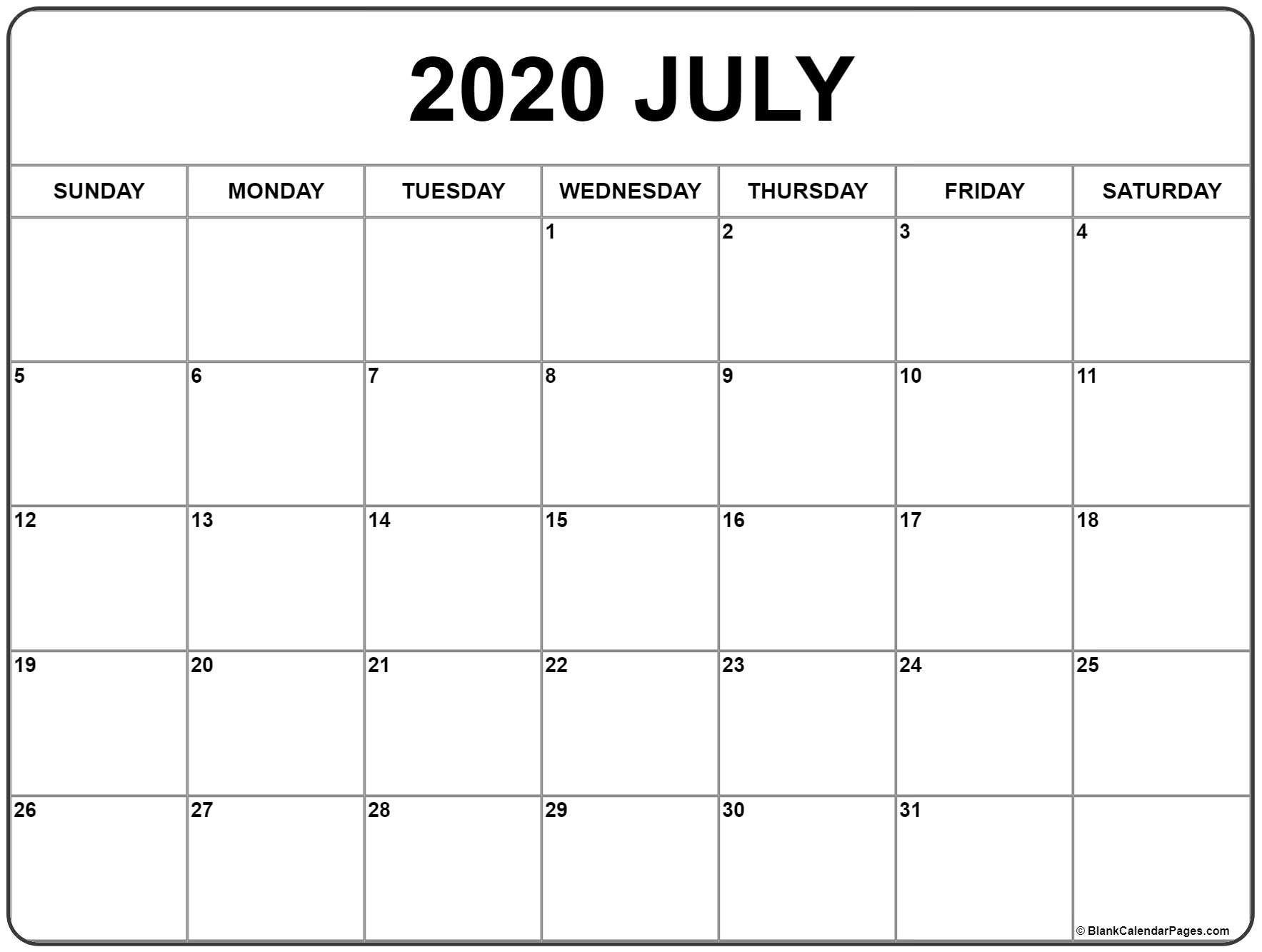 Free Printable July 2020 Calendar Monthly Template Printable Month Calendar With Times