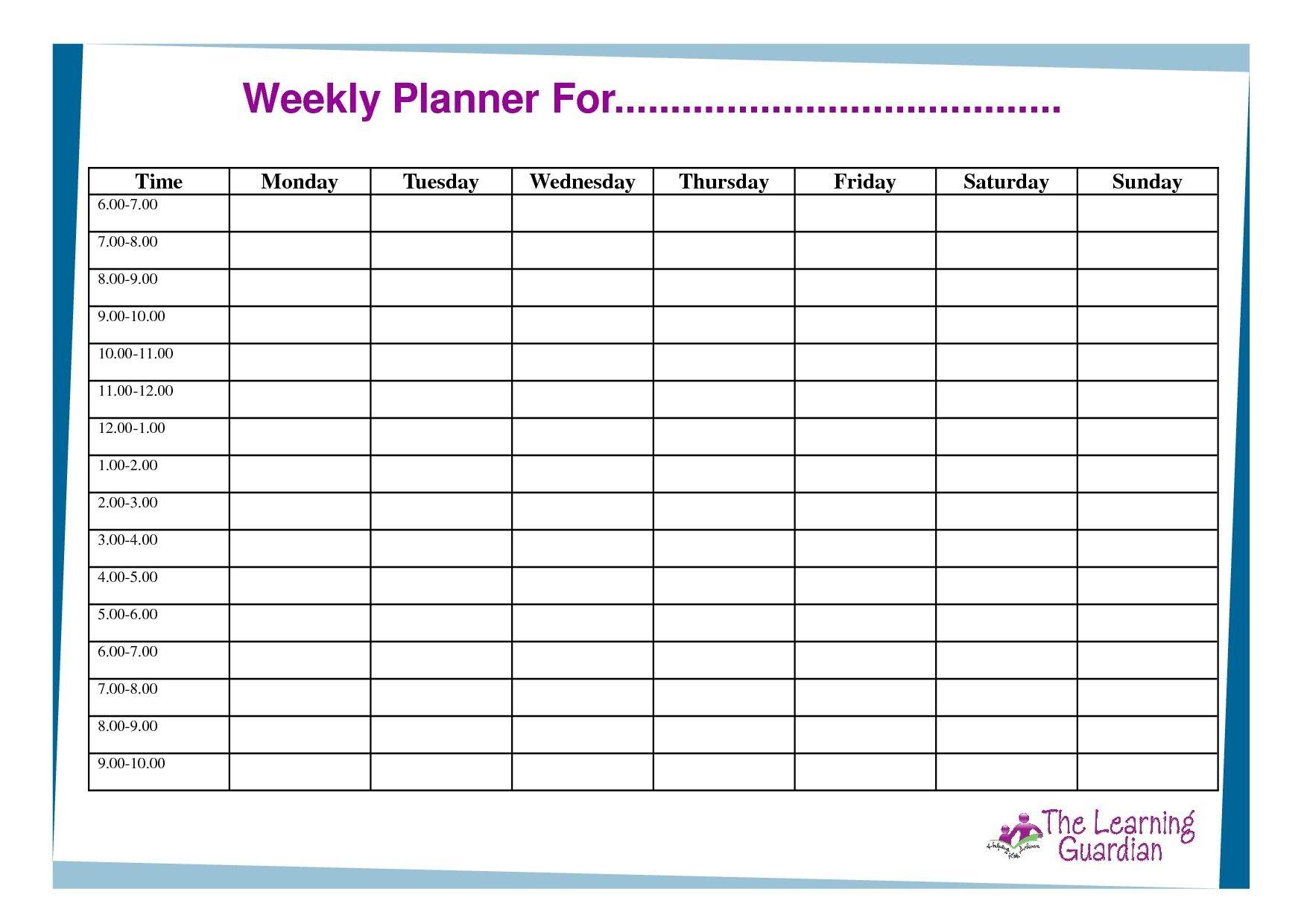 Free Printable Weekly Calendar Templates Weekly Planner One Day Hourly Calendar Free Printable