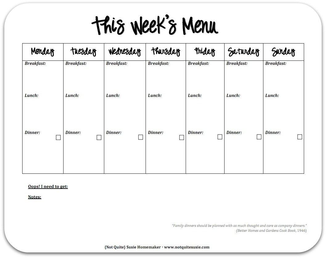 Free Printable Weekly Meal Planner – {Not Quite} Susie Printable 1 Week Schedule