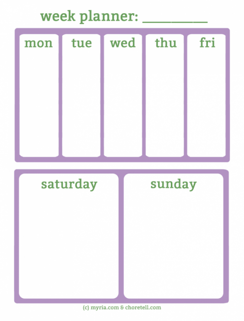 Free Printable Weekly Planners For Busy Weekends – Myria Free Monday Thru Friday Weekly Calendar With Time Slotsprintable