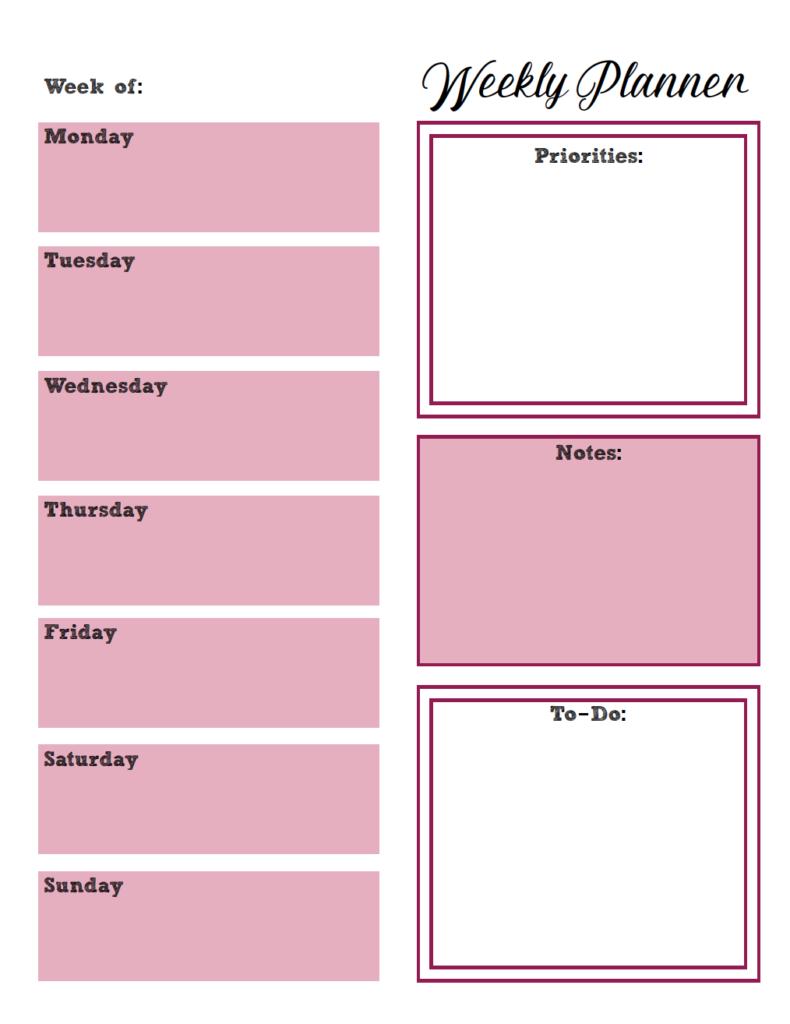 Free Printable Weekly Planners: Monday Start 2 Week Planner Printable Free