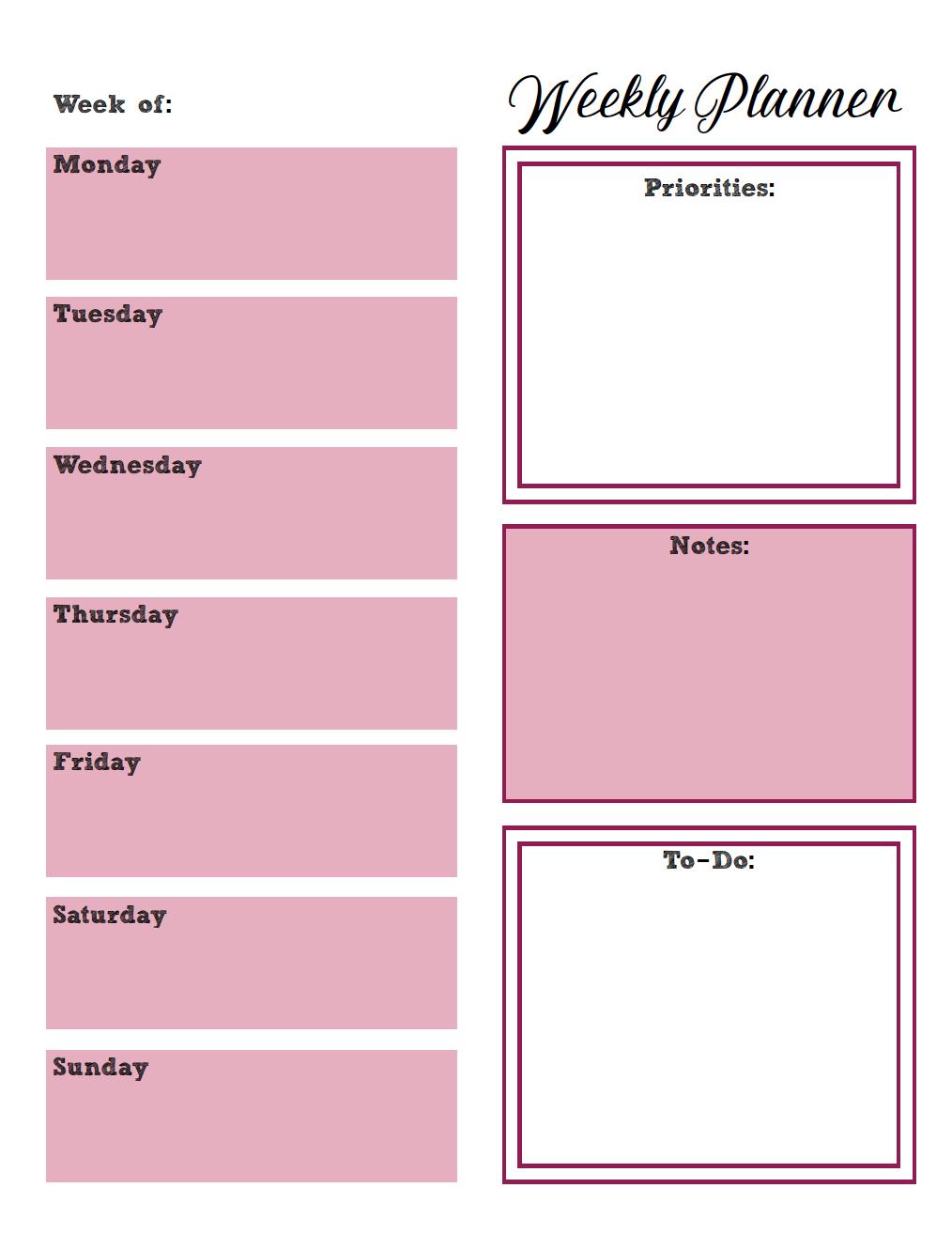 Free Printable Weekly Planners: Monday Start 2 Week Planner Printable
