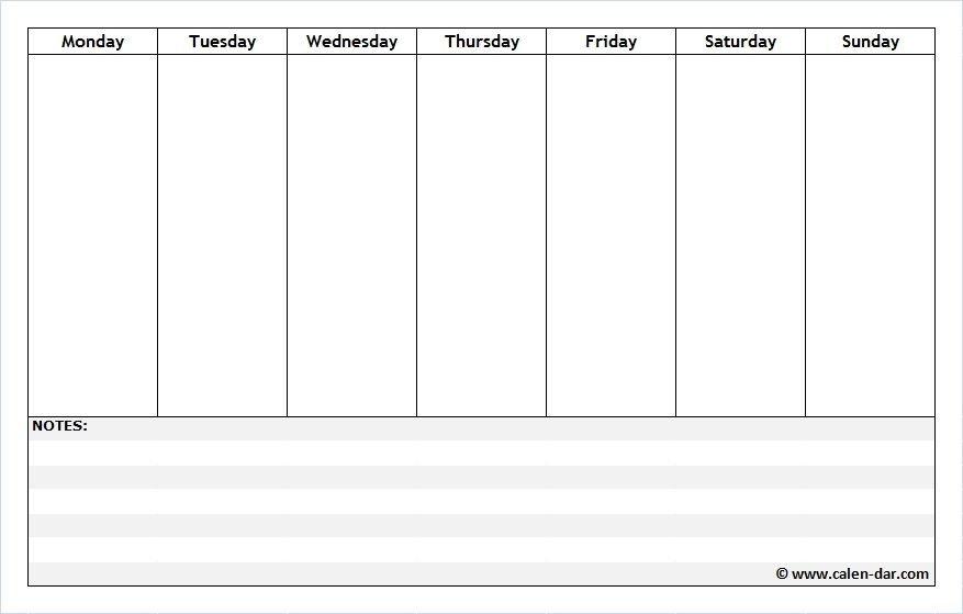 Free Printable Weekly Schedule Planner With Notes | Weekly One Week Printable Calendar